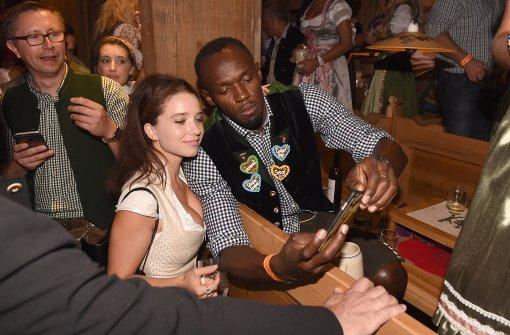 Auf ein Selfie mit Usain Bolt