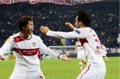 Japanischer Albtraum für Steaua Bukarest:  Gotoku Sakai (li.) und Shinji Okazaki schossen für den VfB insgesamt drei  Tore. Foto: Baumann