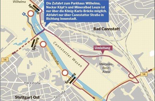 Die Bundesstraßen zwischen Gaisburger Brücke und Rosensteinbrücke sind von Freitagabend bis Montagmorgen gesperrt. Quelle: Unbekannt