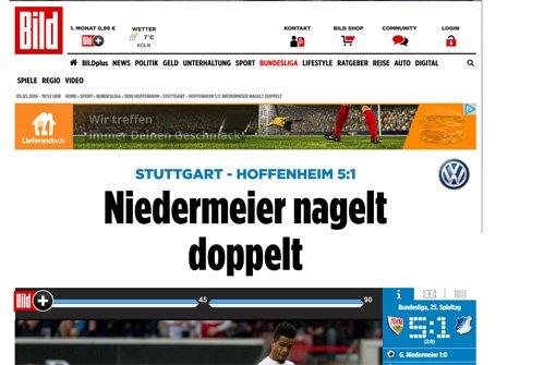 bBild/b schreibt: Stuttgart kanns doch noch! Nach den Niederlagen gegen Hannover (1:2) und Gladbach (0:4) feiert der VfB eine 5:1-Gala gegen Hoffenheim.  Foto: Screenshot