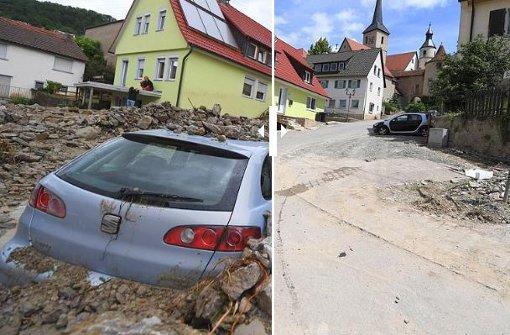 Vorher-Nachher-Bilder aus Braunsbach