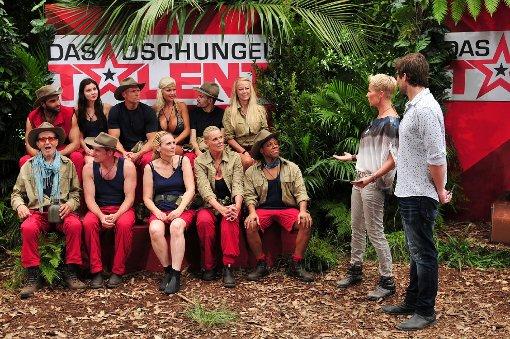 Die restlichen zehn Dschungelbewohner feuern ihre Mitstreiterin an.  Foto: RTL/Stefan Menne