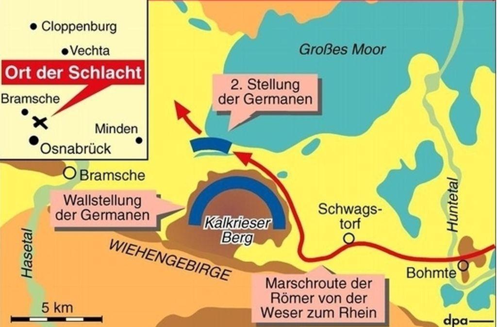 Varusschlacht Karte.Neue Ausgrabungen In Der Fundregion Kalkriese Belegen Dass
