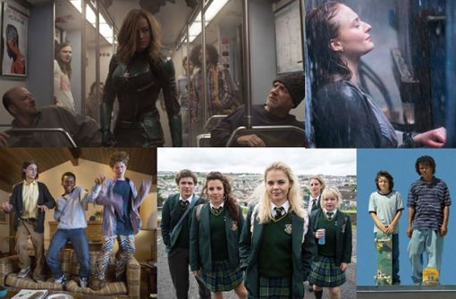 "So stellen sich Serien- und Filmemacher die 1990er vor (von links oben im Uhrzeigersinn): Szenen aus ""Captain Marvel"", ""X-Men Dark Phoenix"". ""Mid90s"", ""Derry Girls"" und ""Everything Sucks!"" Foto: Disney, Fox, Netflix, Channel 4, A24"