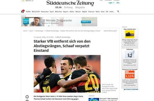 Beste Abstiegskampf-Qualitäten bescheinigt die bSüddeutsche Zeitung/b dem VfB Stuttgart in der Partie gegen Köln. Foto: Screenshot