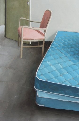 Jenny BrillhartSaxony Hotel – Interior 5 (Blue Mattresses and Folded Blanket), 2006, Öl auf Holz, Privatsammlung,  Foto: © J. Brillhart, Courtesy Galerie Kuckei + Kuckei, Berlin.