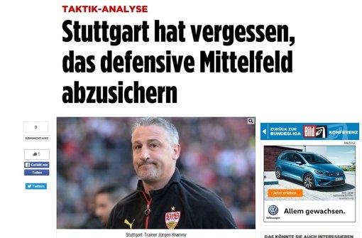 """Die """"Bild"""" analysiert Stuttgarts Fehler beim 1:2 gegen Hannover. Weitere Pressestimmen zeigt die Fotostrecke. Foto: Screenshot"""