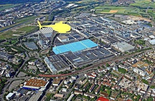 Helikopter kreist über Daimler