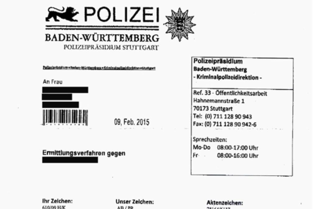 Dubiose Schreiben Warnung Vor Falschen Polizeibriefen Stuttgart