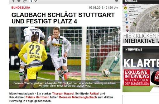 """""""Erschreckend kopflos agierte"""" die Abwehr des VfB Stuttgart aus Sicht der FAZ.  Foto: Screenshot"""
