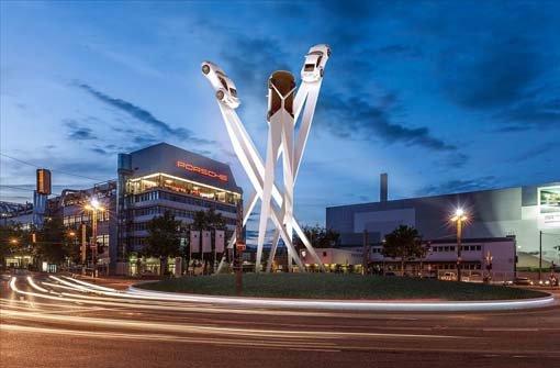 Geplante Skulptur Am Porsche Platz Drei 911er Sollen In