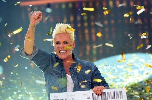 """Ex-Dschungelkönigin Brigitte Nielsen gewann Anfang August  die  RTL-Sommerdschungelshow """"Ich bin ein Star - Lasst mich wieder rein!"""", in der fast alle Ex-""""Dschungelkönige"""" noch einmal antraten. Damit ist die 52-Jährige automatisch qualifiziert. Foto: dpa"""