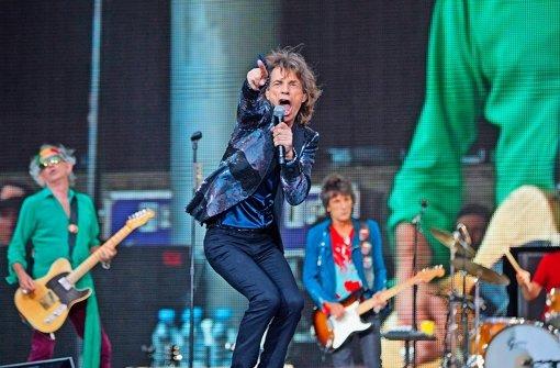 Mick Jagger und die Rolling Stones beim Auftritt auf der Berliner Waldbühne Foto: dpa
