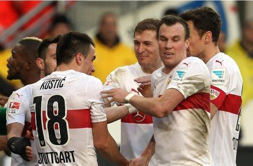 Statt Tristesse herrscht beim VfB Jubel – ein Fall für Psychologen. Foto: Baumann