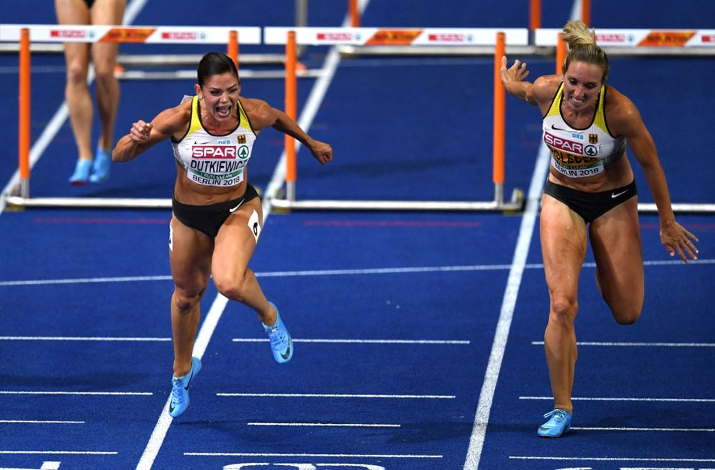 Pamela Dutkiewicz (links) kam vor Cindy Roleder ins Ziel. Foto: Getty Images Europe
