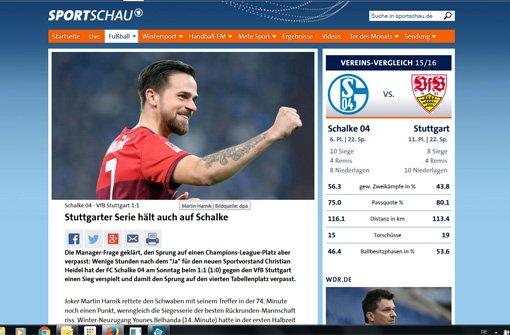 Stuttgarter Serie hält auch auf Schalke, titelt die Sportschau.  Foto: Screenshot