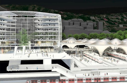 Auf diesem Computerbild und in der Ausstellung im sechsten Stock des Bahnhofsturms lassen sich die Ausmaße des Neubaus gegenüber dem Bonatz-Bau erahnen Foto: ingenhoven architects