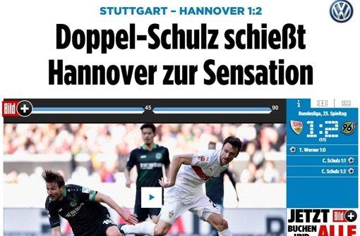 """Die """"Bild"""" spricht dennoch von Hannovers Sieg als einer """"a href=http://www.bild.de/bundesliga/1-liga/saison-2015-2016/spielbericht-vfb-stuttgart-gegen-hannover-96-am-23-Spieltag-41812096.bild.html target=_blankSensation/a"""". Etwas zurückhaltender ... Foto: Screenshot"""