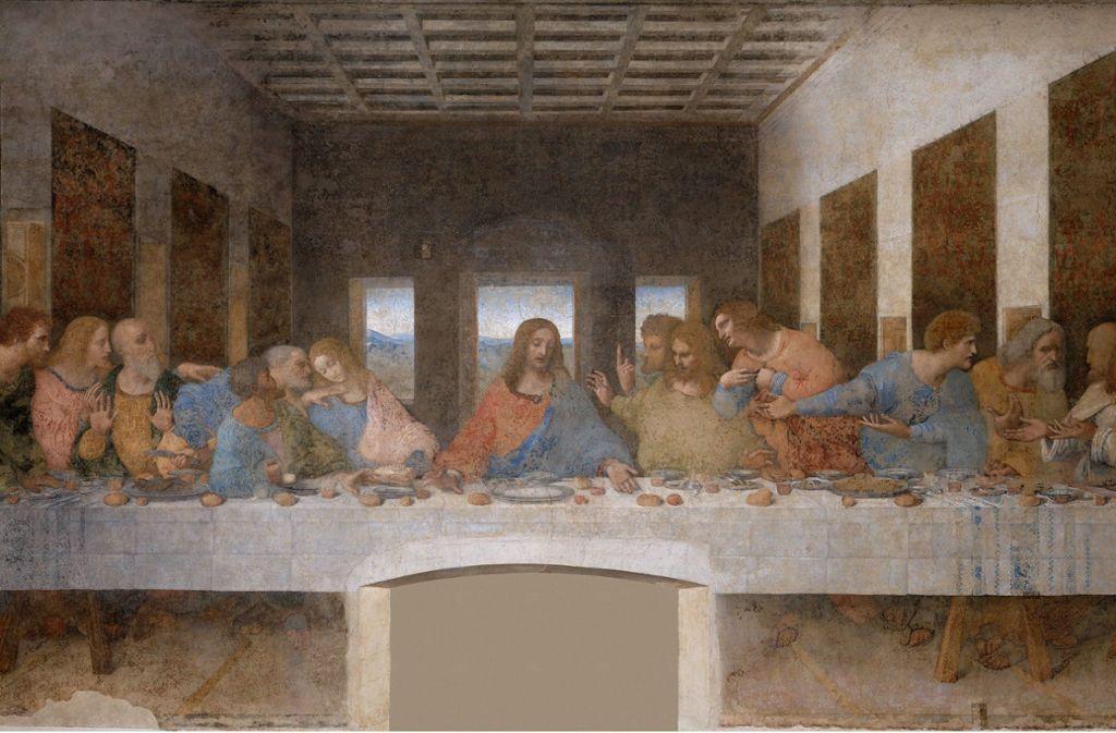 Das in den Jahren 1494 bis 1497 entstandene Abendmahl im Dominikanerklosters Santa Maria delle Grazie in Mailand ist ist ein Höhepunkt im Schaffen Leonardos. Weitere Werke finden Sie in unserer Bilderstrecke. Foto: Wikipedia