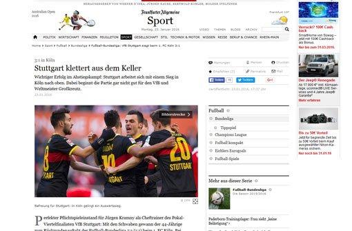 Bei der bFrankfurter Allgemeine/b klettert Stuttgart aus dem Keller. Der VfB habe mutig nach vorne agiert. Weiter heißt es bei der FAZ: Gegen das kompakte 4-1-4-1-System der Gäste fand der FC auch nach dem Seitenwechsel kaum Mittel. Foto: Screenshot