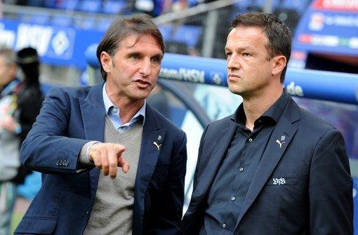 Bruno Labbadia und Fredi Bobic (re.) Foto: dpa