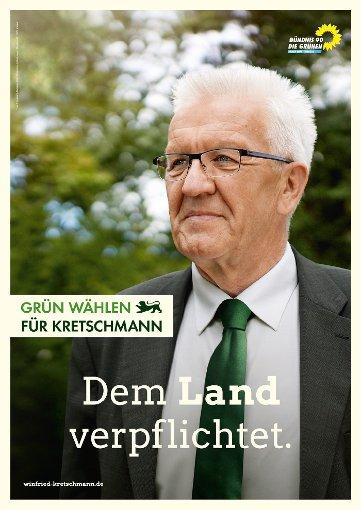 Wahlplakat mit dem Spitzenkandidat der Grünen, Winfried Kretschmann Foto: Nora Chin