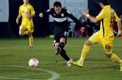 Der VfB Stuttgart gewinnt das erste Spiel im Trainingslager in Belek. Shinji Okazaki trifft beim 2:1 gegen den türkischen Erstligisten Eskisehirspor doppelt. Foto: Pressefoto Baumann