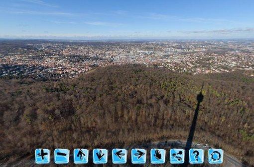 Mit dem 360-Grad-Panorama kann man die Aussicht vom Stuttgarter Fernsehturm genießen. Foto: Screenshot red