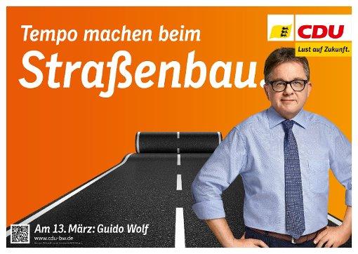 Das CDU-Wahlplakat zum Thema Straßenbau Foto: Nora Chin
