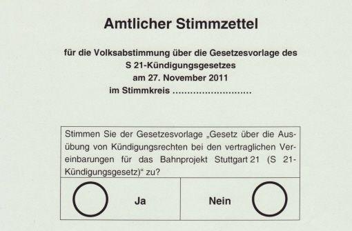Die Frage auf dem Stimmzettel ... Foto: StN