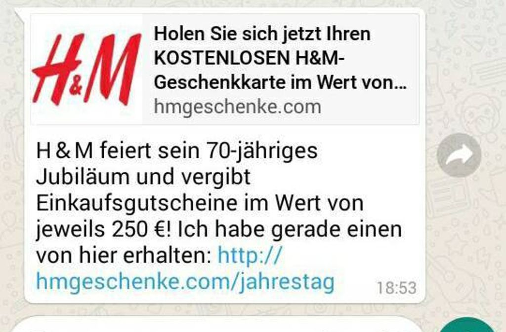 Whatsapp Kettenbrief H&M