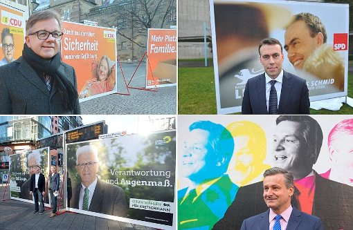 Die Spitzenkandidaten vor ihren Wahlplakaten - im öffentlichen Raum sind die Plakate die Visitenkarte der Bewerber. Foto: dpa