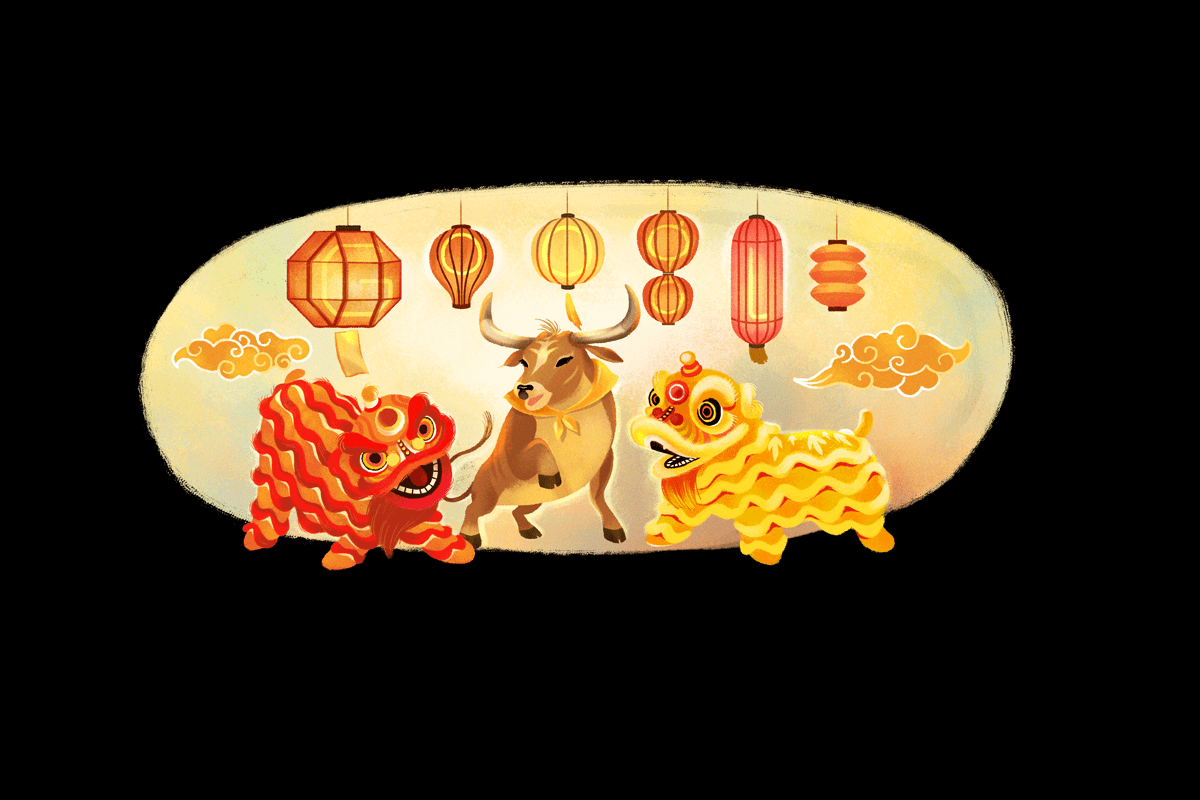 Mond Neujahr Chinesisches Neujahr im Google Doodle