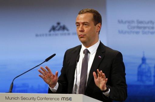 Medwedew spricht auf der Sicherheitskonferenz in München. Foto: AP