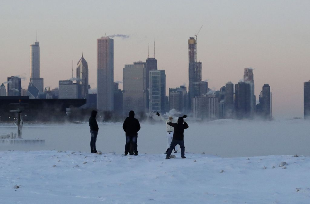 Eisige Temperaturen am Lake Michigan, Chicago. Foto: dpa