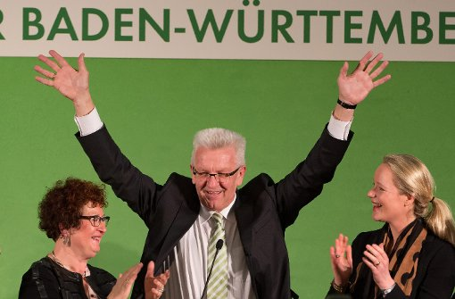 Winfried Kretschmann feiert den Wahlsieg der Grünen in Baden-Württemberg. Foto: dpa