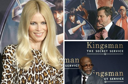 Claudia Schiffer, Clin Firth und Samuel L. Jackson präsentieren Kingsman: The Secret Service in New York. Foto: SIR/dpa