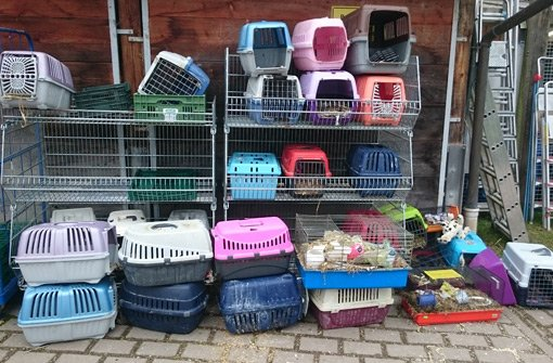 In diesen Transportboxen hausten die über 100 Kaninchen, die die Polizei in der völlig heruntergekommenen Wohnung einer Frau in Stuttgart-Ost entdeckt hat. Foto: Tierschutzverein Stuttgart