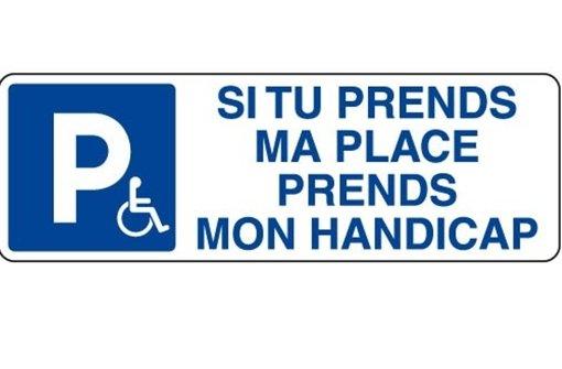 """Autofahrer-Appell auf Französisch. Auf Deutsch bedeutet der Satz: """"Wenn du meinen Parkplatz wegnimmst, dann übernimm auch meine Behinderung"""". Foto: StN"""