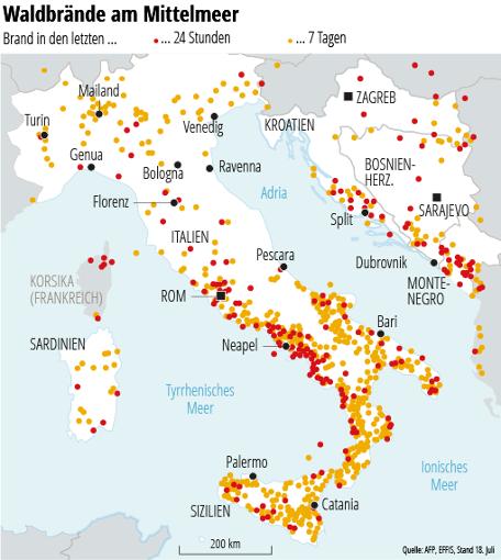 waldbrände italien karte Waldbrände auf dem Balkan: Kroatien Urlauber fliehen vor