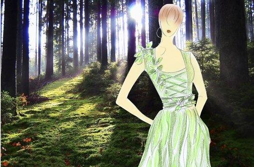 Bisher nur als Modell-Skizze: Waldfee im schwäbischen Forst. Foto: Beate Siegel/Montage: Arcos
