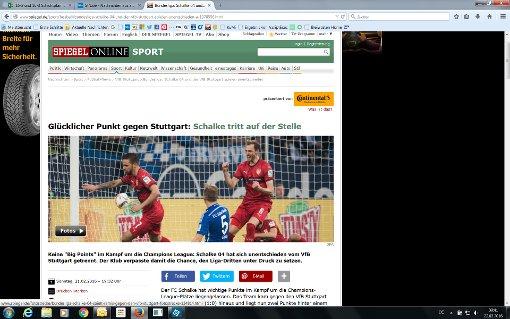 Schalke war mit dem Ergebnis am Ende sogar gut bedient, besonders in der zweiten Hälfte spielte der VfB groß auf und hatte einige gute Möglichkeiten auf den Sieg, schreibt Spiegel Online. Foto: Screenshot