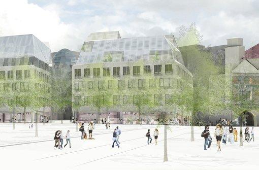 Der vorerst letzte Stand der Planung für das Quartier am Karlsplatz: ... Foto: Breuninger/Behnisch Architekten