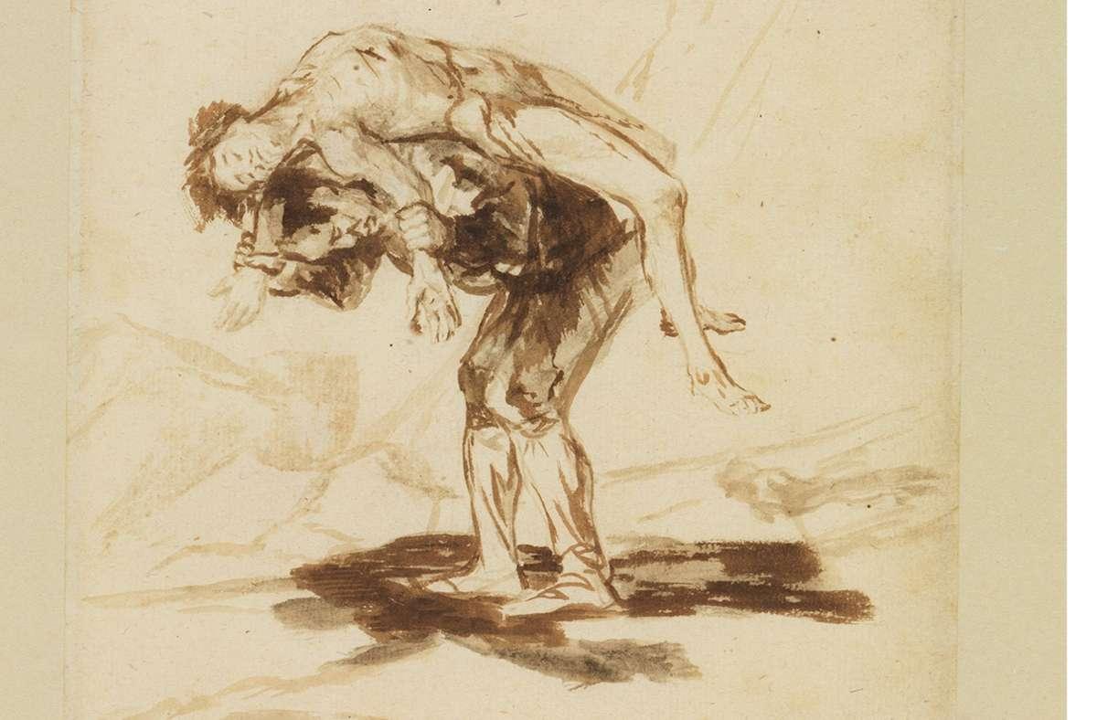 """Leid gehört zum Leben: """"Ein Mann trägt einen Toten"""" (1815–20) von Francisco de Goya Foto: Staatliche Kunsthalle Karlsruhe/Photo A.Fischer/H.Kohler"""