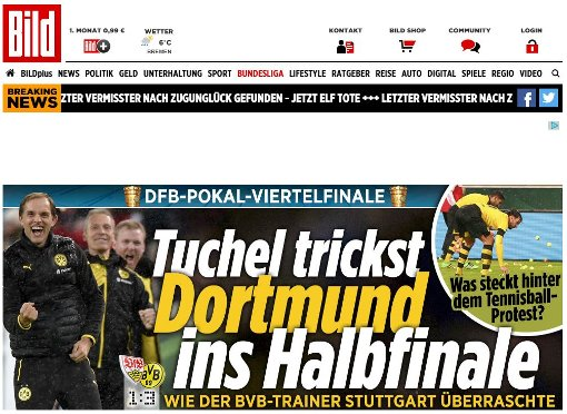 Die Bild lobt Trainer Tuchels Taktik-Tricks, während ... Foto: red / Screenshot