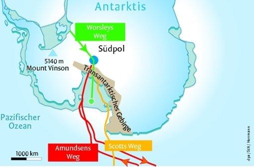Expeditionen zum Südpol: 2015/16 –  Henry Worsley (grün); 1911/12 – Roald Amundsen (rot); 1911/12 –   Robert Scott (gelb). Grafik: StN/Herrmann