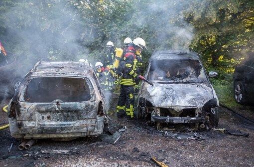 Zwei Autos brennen auf Waldparkplatz aus
