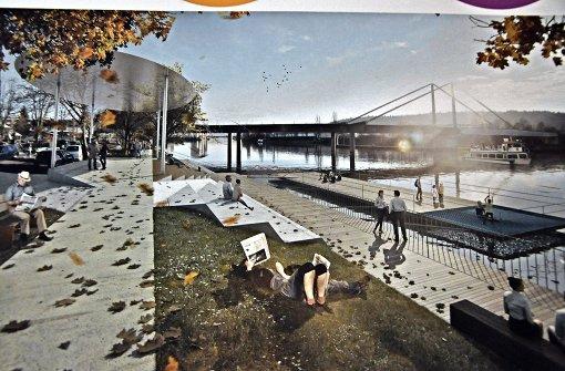 Ein duftiger Uferpark am Neckar