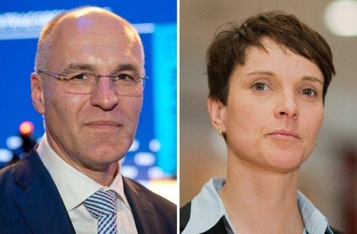Die Bildkombo aus Archivbildern zeigt den Augsburger Oberbürgermeister Kurt Gribl beim CSU-Parteitag und die AfD-Vorsitze Frauke Petry beim 4. Bundesparteitag der Alternative für Deutschland Foto: dpa