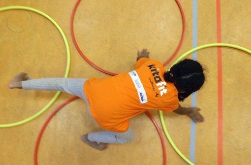 Kita-Kinder sind beim Programm Kitafit mit Eifer bei der Sache Foto: Pressefoto Baumann